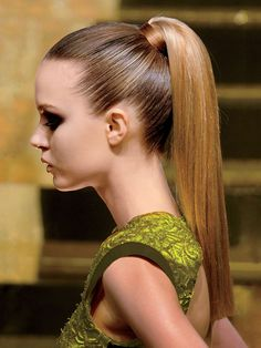 PERFECT PONYTAIL When you want a smooth, sleek style like this one, place a flat nozzle on your blow-dryer and blast the strands at your hairline straight back, using your fingers as a guide. This helps the roots lie flat