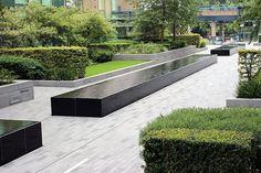 Crossharbour residential scheme #landscape #landscapearchitecture #publicspace #garden #hedge #waterfeature #granite #london #residential