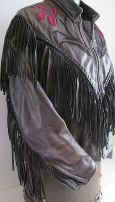 Black Leather Fringed Jacket Leather Jacket by ReVintageBoutique