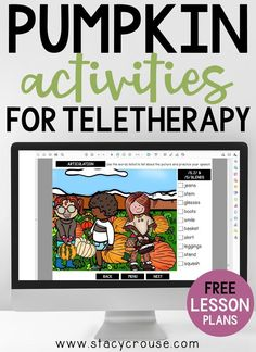 Make fall lesson planning for teletherapy easy with this list of links to pumpkin themed activities that target a variety of speech and language goals. Build your own lesson plan using this round up that includes a virtual field trip, PDF, a game for Google Slides, books, videos, reading passages, activities, and more. This list gives you something for any therapy goal, using a fun fall theme that your students will love!