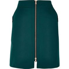 River Island Dark green zip front mini skirt ($47) ❤ liked on Polyvore featuring skirts, mini skirts, tall skirts, mini skirt, short mini skirts, blue skirt and short skirts