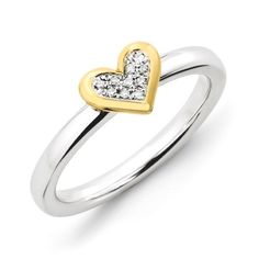 Sterling Silver .04 Ctw I3 H-I Diamond & Vermeil 8mm Heart Ring Size10, Women's, Size: 10, Yellow