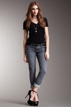 black tee + bf jeans + heels <3...pretty much what I am wearing right now but the jeans are unrolled and no heels