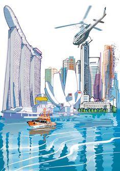 Italian artist Carlo Stanga's work combines his loves of architecture and decorative illustration. Singapore Art, Architecture Concept Diagram, Italian Artist, Art For Art Sake, Texture Design, Anime Style, Illustrators, Art Drawings, Illustration Art