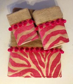 Fuschia Pink and Gold Bath Towel Set by LadyDiBlankets on Etsy, $62.99