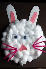 Cotton ball bunny...super easy Easter craft