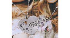 Dupla barátság nyaklánc kulcs a szívben