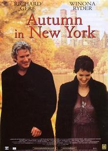 2000 Autumn in New York is a romance / drama film directed by Joan Chen and starring Richard Gere, Winona Ryder, and Anthony LaPaglia. Enjoyed this movie as a good TV movie rather than a must see on the big screen movie The Fall Movie, Love Movie, Movie Stars, Movie Tv, Anthony Hopkins, Marlon Brando, Brad Pitt, Steve Mcqueen, New York Movie