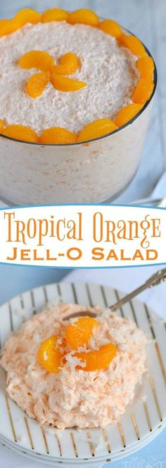 The refreshing flavors of orange, pineapple and coconut pair beautifully in this easy to make, one-bowl Tropical Orange Jello Salad! Great for parties, BBQs and picnics! // Mom On Timeout #orange #jello #salad #recipe #momontimeout #cottagecheese #pineapple