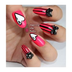 Neon red black stiletto nails Nails ❤ liked on Polyvore featuring nails, nail art and nail polish