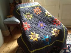 Completed wonky star quilt. Quilted on domestic machine.