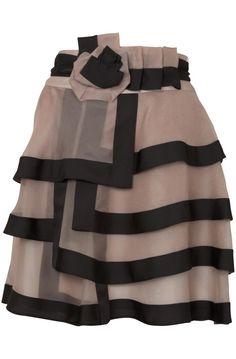 This Christopher Kane black tulle layered skirt with velvet ribbon edging has a shorter beige slip underneath.