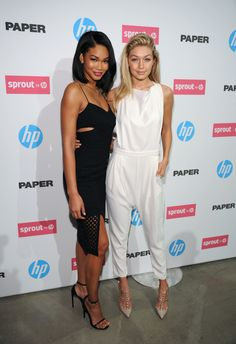 With Chanel Iman at an HP event in New York - ELLE.com