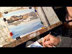 Watercolour painting for beginners, boats, buildings , skies, Cornish ha...