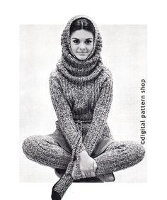 $4.25 PDF Knit Sweater Pattern Matching Hood & Stockings Pattern Instant Download Size 12 to 18 - K07