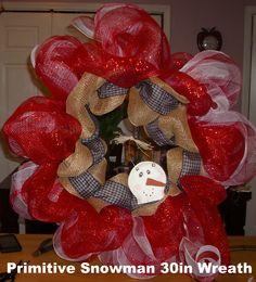 primitive snowman wreath