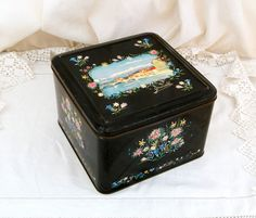 Large Vintage French Metal Tin with Floral Pattern and Illustration of the Town of Grenoble, Shabby, Romantic, Retro, Decor, Country, Box by VintageDecorFrancais on Etsy