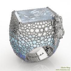 Glacier ring with polar bear, platinum, diamonds, aquamarines and blue sapphires, from www.armoura.com