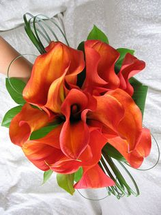 "Orange Arum Lily Bouquet Kate, i still think these are super pretty & beachy! i was re-looking at all the bouquet's we've posted lately haha probably the easiest ""fakes"" to buy without looking fake...?"