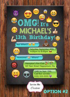 Emoji Birthday Invitation Emoji Invite Girl by InviteMeCreations