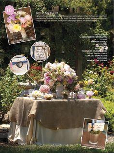 blue, pink, ivory, burlap wedding