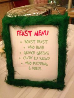 Grinch Party Feast Menu