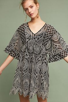 Brooke flared dress with hole pattern, black anthropology