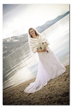 Keep warm with a faux fur stole even in Tahoe in February; wedding by Take the Cake Event Planning