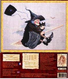 nimue cross stitch witch | Stitched on 32 count natural linen, 6 stitches per cm, 2 over 2 ...