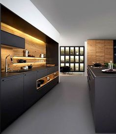 Best Kitchen Colors 2018 Luxury Kitchen Design Trends 2018 2019 – Colors Materials Black Kitchen Cabinets, Kitchen Cabinet Styles, Black Kitchens, Kitchen Floor, Cool Kitchens, Grey Kitchen Designs, Kitchen Design Open, Luxury Kitchen Design, Open Kitchen