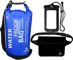 Waterproof Dry Bags Set Of 3 By Freegrace - Dry Bag With 2 Zip Lock Seals & Detachable Shoulder Strap, Waist Pouch & Phone Case - Can Be Submerged Into Water - For Swimming, Kayak, Rafting & Boating