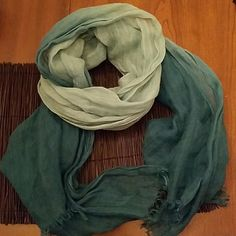 ☁️Ombre Blue Lightweight Scarf☁️ Ombre from deep teal to a light blue. Beautiful and lightweight. Is from Michael Kors showroom but no label was sown in...hence price, Macy's for visibility. Little speck of discoloration as shown, but easily hidable. Macy's Accessories Scarves & Wraps