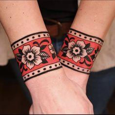 Arm Cuff Tattoo, Wrist Band Tattoo, Tattoo Bracelet, Love Tattoos With Names, Black Girls With Tattoos, Dope Tattoos, Body Art Tattoos, Sleeve Tattoos, Traditional Tattoo Wrist