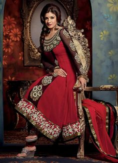 Gorgeous Red Georgette Anarkali Suit