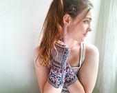 Aqua, Pink, Wine, and Cream Fingerless Gloves. Gauntlet Style. Handknit.