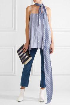 Balenciaga - Striped Silk Scarf - Blue - one size