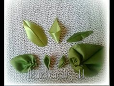 How to make kanzashi leaves (petals) I 6 Different leaves, Diy kanzashi,Tutorial Diy Lace Ribbon Flowers, Cloth Flowers, Kanzashi Flowers, Ribbon Art, Fabric Ribbon, Ribbon Crafts, Flower Crafts, Fabric Flowers, Paper Flowers
