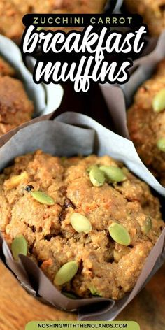 These VERY POPULAR delicious Zucchini Carrot Breakfast Muffins are full of healthy and wonderfully flavored ingredients. Your family will love them! #muffins #zucchinimuffins