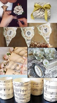 Darling bunting...yours could say Oh Happy Day!  Elegantly Bound Books: Vintage Sheet Music Wedding Theme