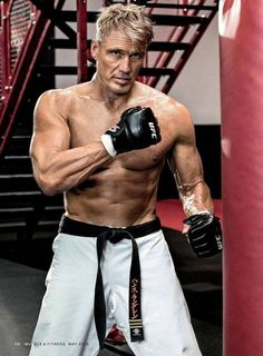 sensei dolph lundgren, with ufc gloves