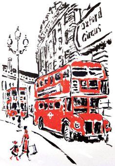 Image via We Heart It #britain #cool #drawing #london #uk #double-decker #bigredbus #england