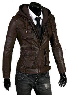 Handmade Men brown hooded leather jacket men by customdesignmaster, $159.99