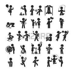 pictogram: Set of children activities play and learn ,Human pictogram Icons ,  vector format