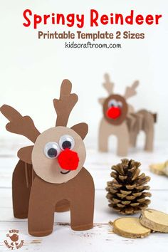 PRINTABLE ACCORDION PAPER REINDEER CRAFT - here's a fun springy printable reindeer kids will love to make and play with. This homemade paper reindeer toy has a simple but cleverly folded body that allows it to stand up and be walked along by little hands. The folds work like a spring so the reindeer can bounce up and down on their bottoms! So fun! The printable template comes in two different sizes. #kidscraftroom #kidscrafts #christmascrafts #reindeer #reindeercrafts #printablecrafts Creative Activities For Kids, Creative Arts And Crafts, Easy Crafts For Kids, Arts And Crafts Projects, Creative Kids, Printable Crafts, Printables, Reindeer Craft, Activity Ideas