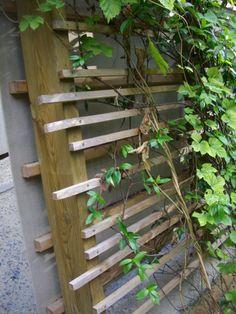 Un treillage en bois moderne et facile à construire. Des poteaux et tasseaux de bois pour la structure. Une mise en place irrégulière sur les poteaux et vous voila avec une structure originale et moderne. Réalisable même par un non bricoleur. Une manière...