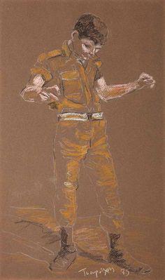 """ Yiannis Tsarouchis (Greek, Soldier Dancing Zeibekiko, Pastel on brown paper, 48 x 29 cm. Greece Painting, Fantasy Art Men, Queer Art, Art Of Man, Men In Uniform, Caravaggio, Gay Art, Portraits, Michelangelo"