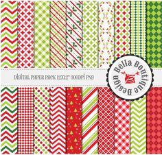 "Merry Christmas - 12x12"" Digital Pattern 20 Pack - Red, Green, Tree, Holly, Chevron, Plaid, Quatrefoil, Gingham, Argyle"