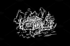 House forest sketched art vector by Art By Silmairel on @creativemarket