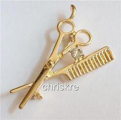 Stylist Pin Gold Crystal Brooch Scissors Comb Hair Dresser Graduation Gift USA