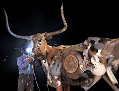 South Dakotan sculptor John Lopez creates life-sized scrap metal sculptures with a uniquely Western American twist. In his hands, old discarded farm equipment is recycled into sculptures of iconic creatures from the American West like a bison, a horse plowing a field, or a Texas Longhorn.